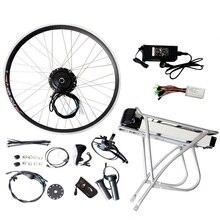 JS 36 V 10Ah Carrier Batería 250 W 350 W 500 W Motor Bicicleta Eléctrica Kit De Conversión Controlador Del Acelerador Del Motor rueda de La Bicicleta Kit de Reacondicionamiento