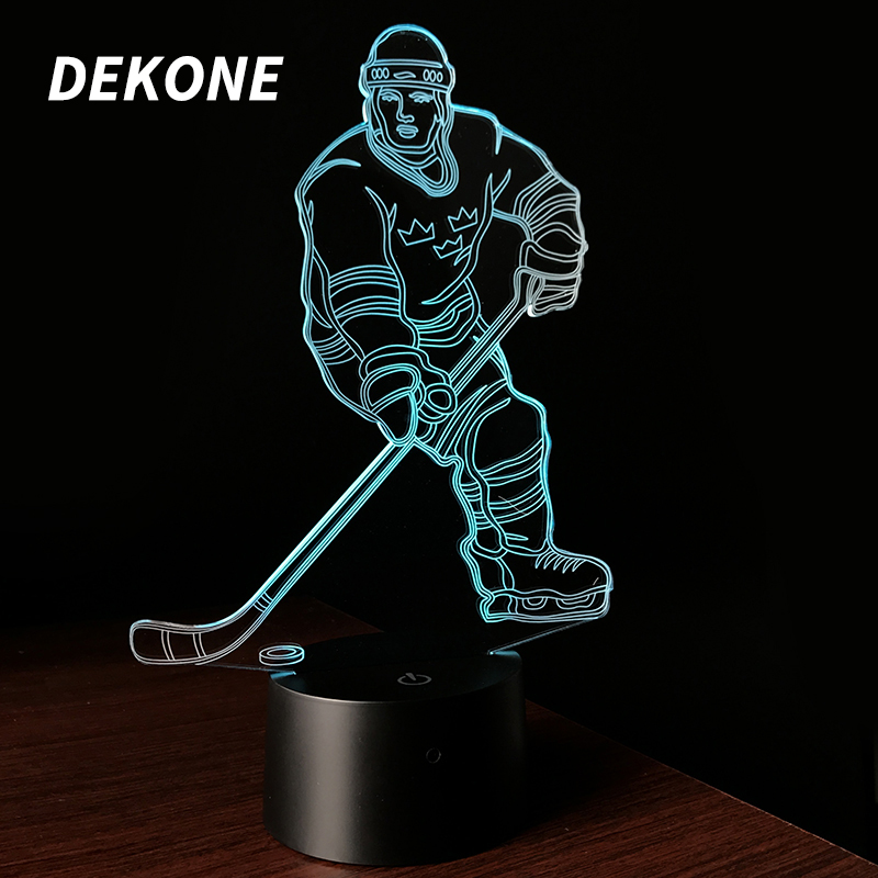 Hockey Player Kids Bedroom Decoration LED Color Changing Touch Table Desk Lamps Lighting Cool Toys Gifts Birthday Xmas D