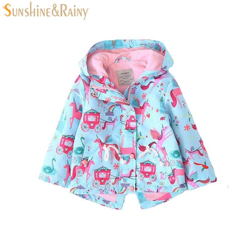 Новинка весны куртка для девочек ветровка мультфильм Единорог пальто с капюшоном для кур ...