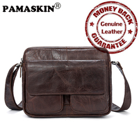 PAMASKIN Premium The First Layer Of Genuine Leather Men Cross Body Bags Large Capacity Retro Men
