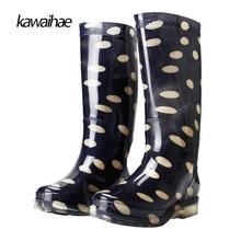 Zapatos de goma de Las Mujeres Impermeables Botas de Lluvia de Las Mujeres Cómodas Botas de marca Puntera Redonda Botas Hasta La Rodilla 2017 Kawaihae 329