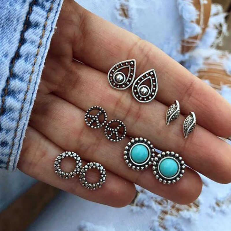 Vintage Geometric Stud Earrings Set For Women Girls 2018 Fashion Bead Stone Flower Small Earrings Boucle d'oreille Femme Gifts