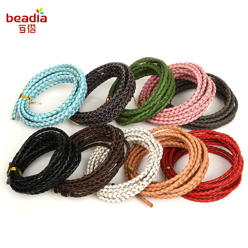 1-2m/Wire Diameter 3/4/5mm Round Braided Genuine Lether Rope String Cord For Bracelet Necklace Jewelry Craft Make Wrapping Wire linhuipad touring single side headsets single earhook helmet 3 5mm mono plug cord 1 2m singapore post