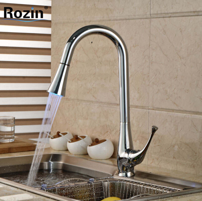 Deck Mount LED Light Rotation Kitchen Sink Mixer Water Faucet Single Lever Brass Pull Out Kitchen