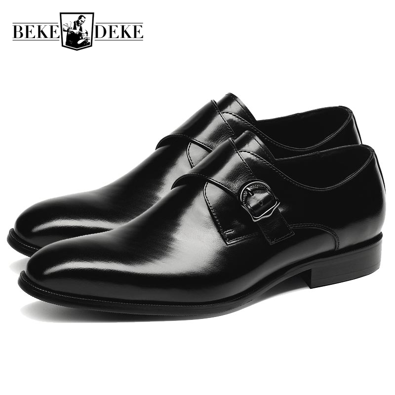 Buckle Strap Mens Cow Genuine Leather Pointed Toe New Fashion Formal Shoes Male Dress Shoes Chaussures Hommes En Cuir Black Red autumn new fashion mens genuine leather cow pointed toe slip on hot sale formal shoes dress shoes male tassel low heel plus size