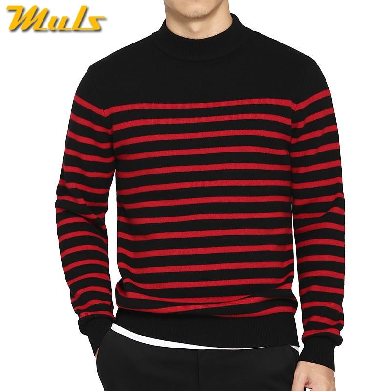 100% Wolle Pullover Männer Rollkragen Gestreift Reiner Wolle Herren Pullover Männlich Pullover Herbst Winter Strickwaren Marke Muls M-4xl 3126