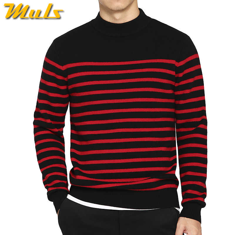14c7a6d4f8cf6 100% шерсть свитер мужчин водолазка в полоску чисто шерстяные мужские  свитера мужской пуловер на осень