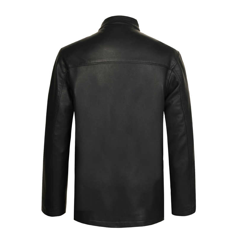Chinese Vintage Style Mens Black Ethnic Tang Suit Soft Leather Jackets With Stand Mandarin Collar Fur Overcoats For Man Coats XL 2XL 3XL 4XL (1)