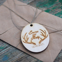 50pcs Personalized Customized Name Date Wooden Wood Antler Gift Invitation Cards Tags Wedding Party Decorations DIY