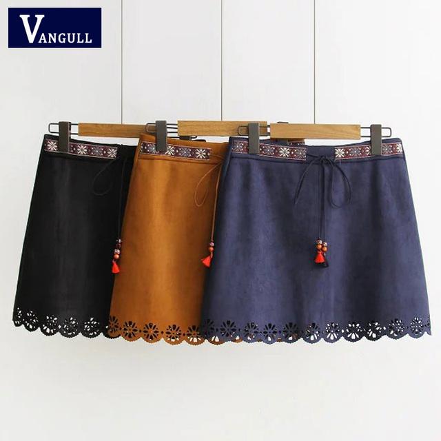 2017 mulheres de couro de camurça saia primavera outono lace up ladies vintage bolso formal de inverno saia curta saia de cintura alta saias casuais