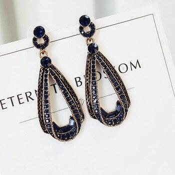 Pendientes colgantes geométricos clásicos de cristal para mujer, pendientes Retro de gota de agua, joyería de moda 2018