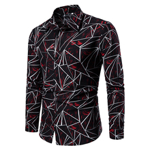 2019 Fashion Men Shirts Long Sleeve Geometric Printed Brand Clothing Social Casual Cotton Button Down Big Size