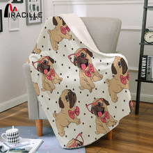 Miracille Bulldog Sofa Throw Blanket Hippie Pug Dog Sherpa Fleece Blanket for Bed Couch Kid's Room Decoration(China)