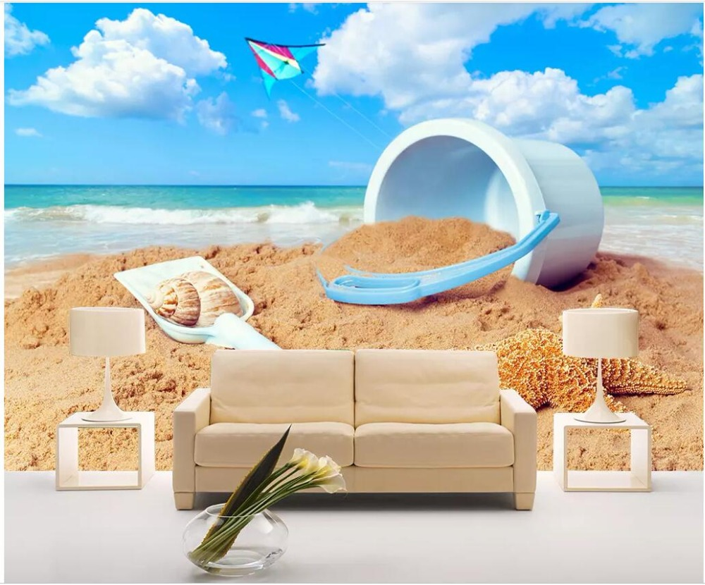 US $15 45 OFF Wdbh Foto Kustom 3D Wallpaper Biru Muda Ember Pasir Laut Kamar Dekorasi Rumah Lukisan 3d Dinding Mural Wallpaper Dinding 3