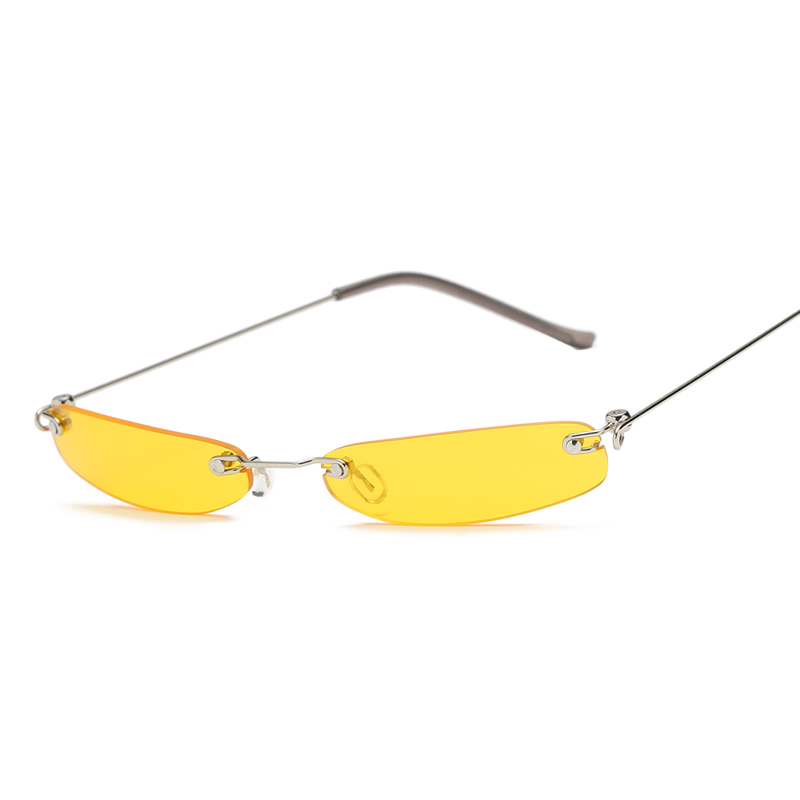 Newest Small Narrow Sunglasses Women Retro Rectangle Sunglass Brand Designer Female Eyewear Rimless Square Colorful Lens Shades in Women 39 s Sunglasses from Apparel Accessories