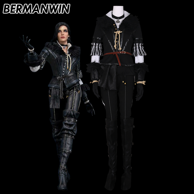 BERMANWIN High Quality The Witcher 3 Wild Hunt Yennefer Outfit Cosplay Costume Halloween Carnival Costumes For Women Girls