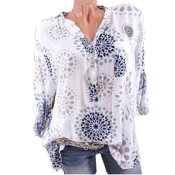 4XL Womens Tops And Blouses 2018 Fashion Floral Print V-Neck Ladies Shirts Female Plus Size Long Sleeve Loose Blouse Tunic Blusa blouse