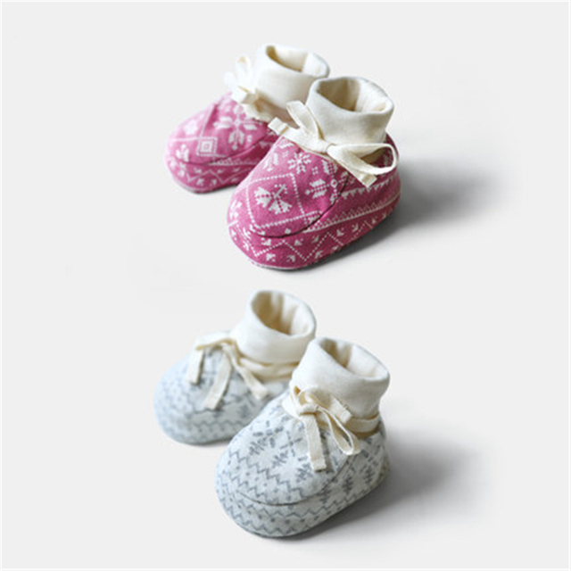 Baby Shoes First Walkers Baby Soft Bottom Anti Slip Elastic Band Cotton Cute Soft Sole Toddler Shoes Winter Warm 80A1052