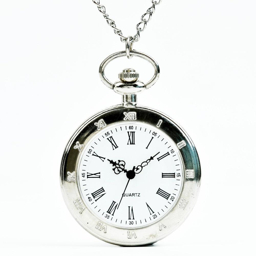 Unique Sliver Roman Numerals Mechanical Pocket Watch Dial Men Women Chain Best Gift