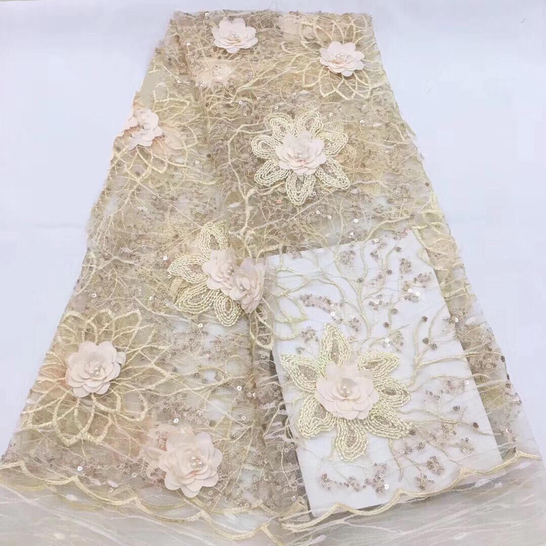 Hohe Qualität Nigerian 3D Hochzeit Spitze Stoff rosa Neueste Afrikanischen Schnürsenkel 2018 Französisch Net Spitze Stoff Mit für Kleid KCD970-in Spitze aus Heim und Garten bei  Gruppe 3