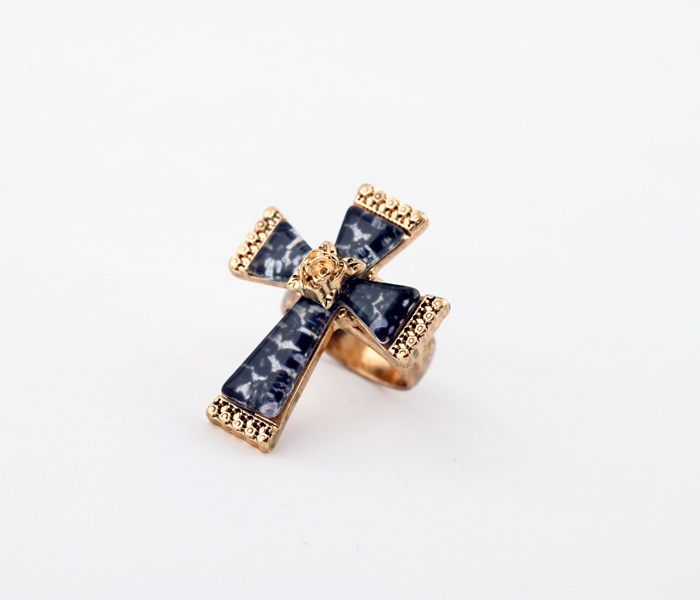 Retro Antique Rose Gold & Antique Gold & Antique Silver Color Rings Blue Resin Cross Finger Rings Female Indian Jewelry
