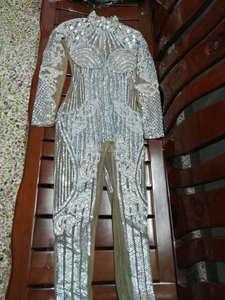 Image 5 - 패션 밝은 크리스탈 다이아몬드 점프 슈트 파티 rompers 의상 여성 싱어 공연 댄스 파티 복장 바디 슈트