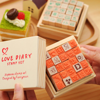 Love Diary Stamp Roller Stamp Wood Stamp Personal Motto 25pcs Per Box Happy Life Love Diary