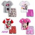 Novo Ternos Verão Dos Desenhos Animados Pijamas Meninas Do Bebê Impresso Pijamas conjuntos de Roupas de Algodão 100% das Crianças set Crianças Sleepwears