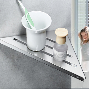 Image 3 - Bathroom Kitchen Storage Shelf Wall Mounted Stainless Steel Shower Caddy Rack Brushed Nickel Black Commodity Holder