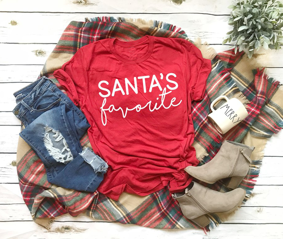 SANTA'S Favorite T-shirt Funny Slogan Women Fashion Hipster Christmas Party Style Tumblr Casual Tumblr Aesthetic Shirt Red Tees