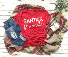 SANTA'S favorite T-shirt funny slogan women fashion Hipster Christmas party style tumblr casual tumblr aesthetic shirt red tees(China)