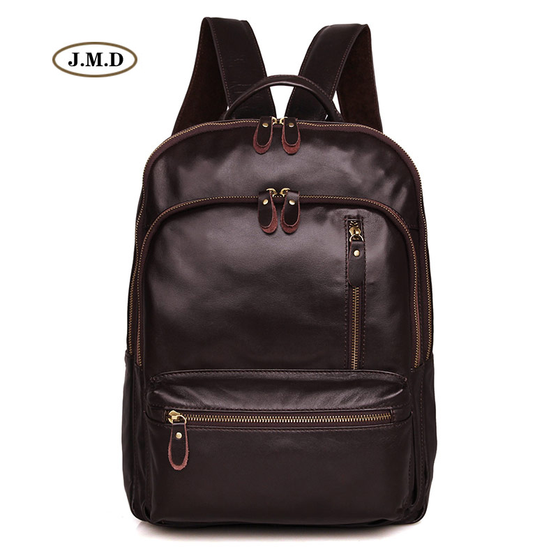 Фото J.M.D Simple Design Genuine Leather Chocolate Color Unisex Fashion Small Backpack Schoolbag Travel Bag Daily Rucksack 7313Q