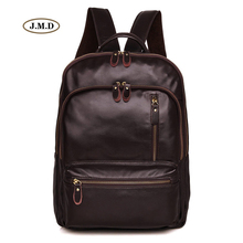 J.M.D Simple Design Genuine Leather Chocolate Color Unisex Fashion Small Backpack Schoolbag Travel Bag Daily Rucksack 7313Q daily backpack women shoulder bag genuine leather ladies travel bag luxury brand design fashion casual black backpack schoolbag
