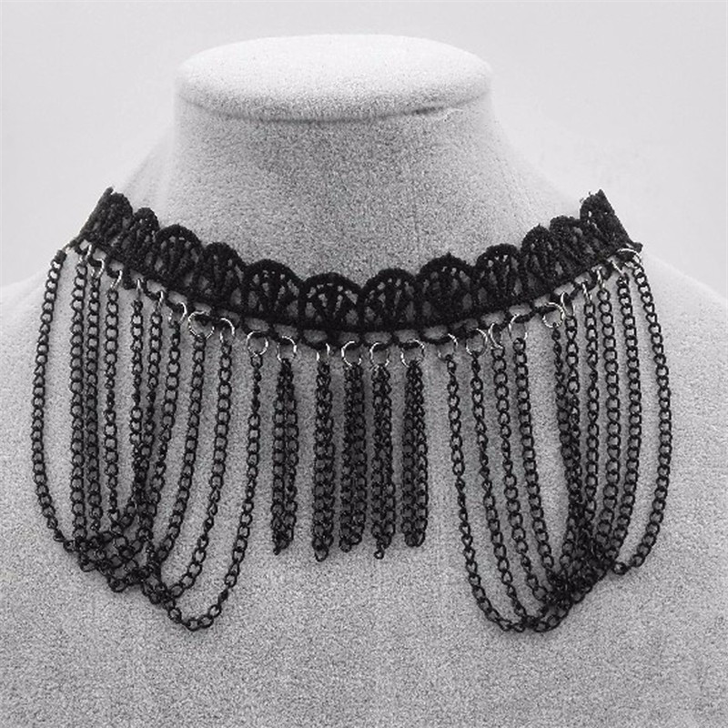 Hollow out lace black choker women cloth accessories Short punk vintage chain necklace Flower fine jewelry necklace