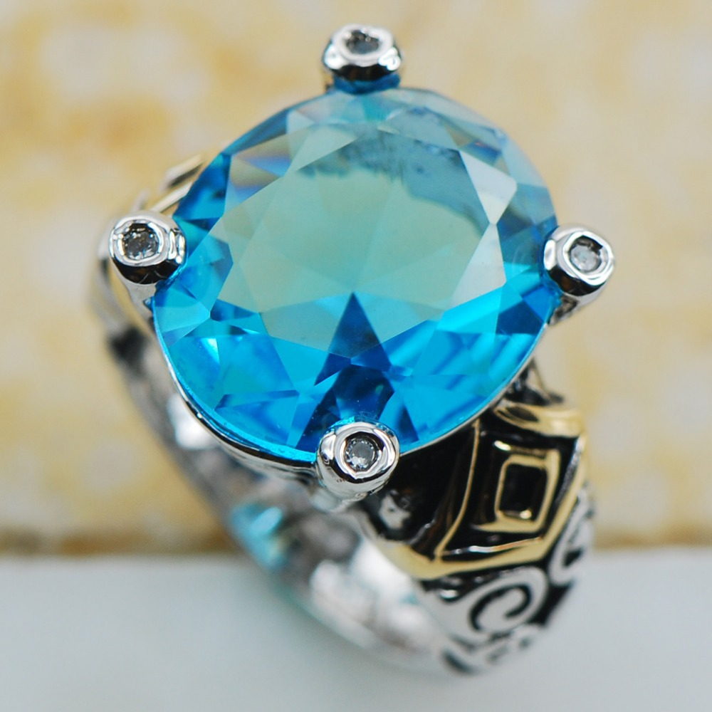 Simulated Aquamarine 925 Sterling Silver Top Quality Fancy Jewelry wedding Ring Size 6 7 8 9 10 F1195