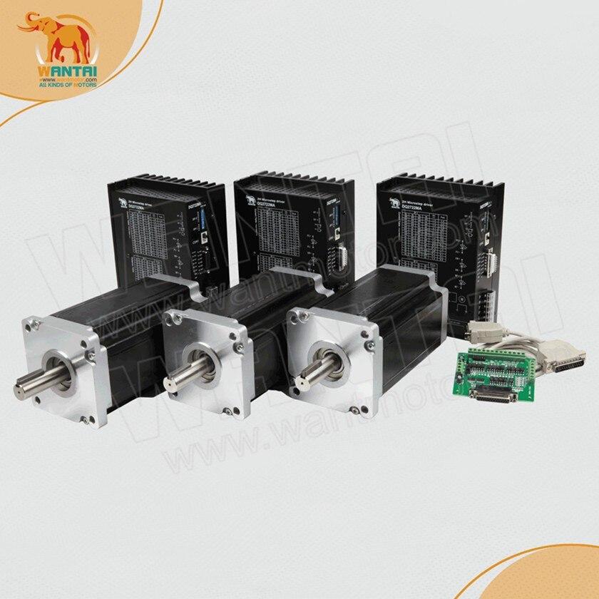 High Quality! CNC Wantai 3 Axis Nema 42 Stepper Motor 110BYGH150-001 3256oz-in+Driver DQ2722M  220V 7.0A 300Micro Printer Metal nema24 3nm 425oz in integrated closed loop stepper motor with driver 36vdc jmc ihss60 36 30