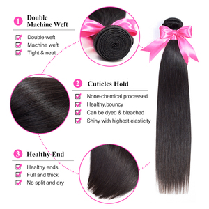 Image 3 - ISEE 3 Bundles Straight Hair With Closure Remy Human Hair Bundles With Closure  4*4 Free Part Swiss Lace Indian Hair Extensions