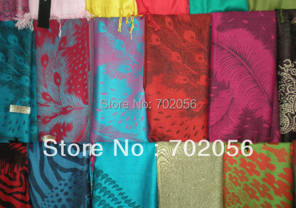 2015 all matched feather print shawl   scarf     wraps   ponhos stole mixed colors 9pcs/lot 180*70cm #3439