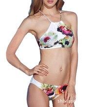 PNT 2017 Sexy Swimwear Women Brazilian Bikini Set High Neck Halter Printed Bathing Suit Push Up