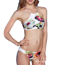 PNT 2017 Sexy Swimwear Women Brazilian Bikini Set High Neck Halter Printed Bathing Suit Push Up Sexy Summer Swimsuit Bikini