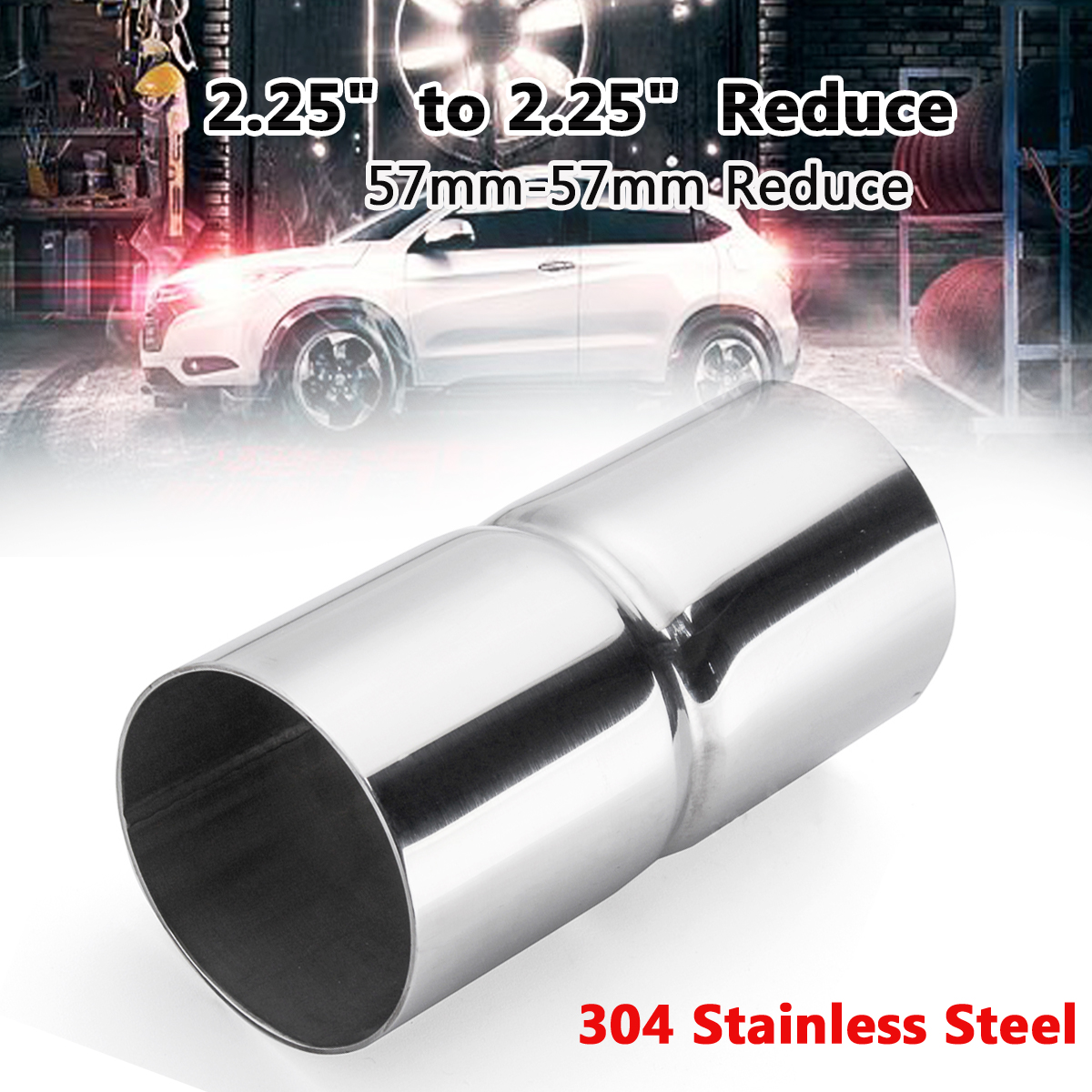 """2.25/"""" OD to 2.25/"""" OD Exhaust Pipe Adapter Connector Reducer 304 Stainless Steel"""