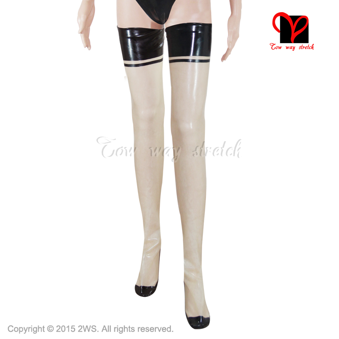 Sexy Latex couture bas sur le genou longue en caoutchouc cuisse haute Glam pieds collants cubain français havane talon jambe porter taille XXXL WZ-001