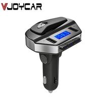 VJOYCAR trasmettitore FM Wireless Kit per auto chiamata a mani libere con cuffia bluetooth modulatore Aux lettore MP3 per auto schermo blu