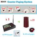 Mais barato 1 K-999 teclado 25 de pagers sistema de alarme sem fio sistema de chamada de enfermeira de encomendar