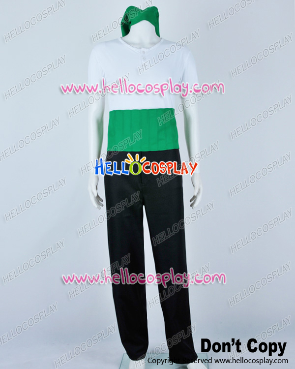 Top+pants One Piece Cosplay Roronoa Zoro White Green Costume H008