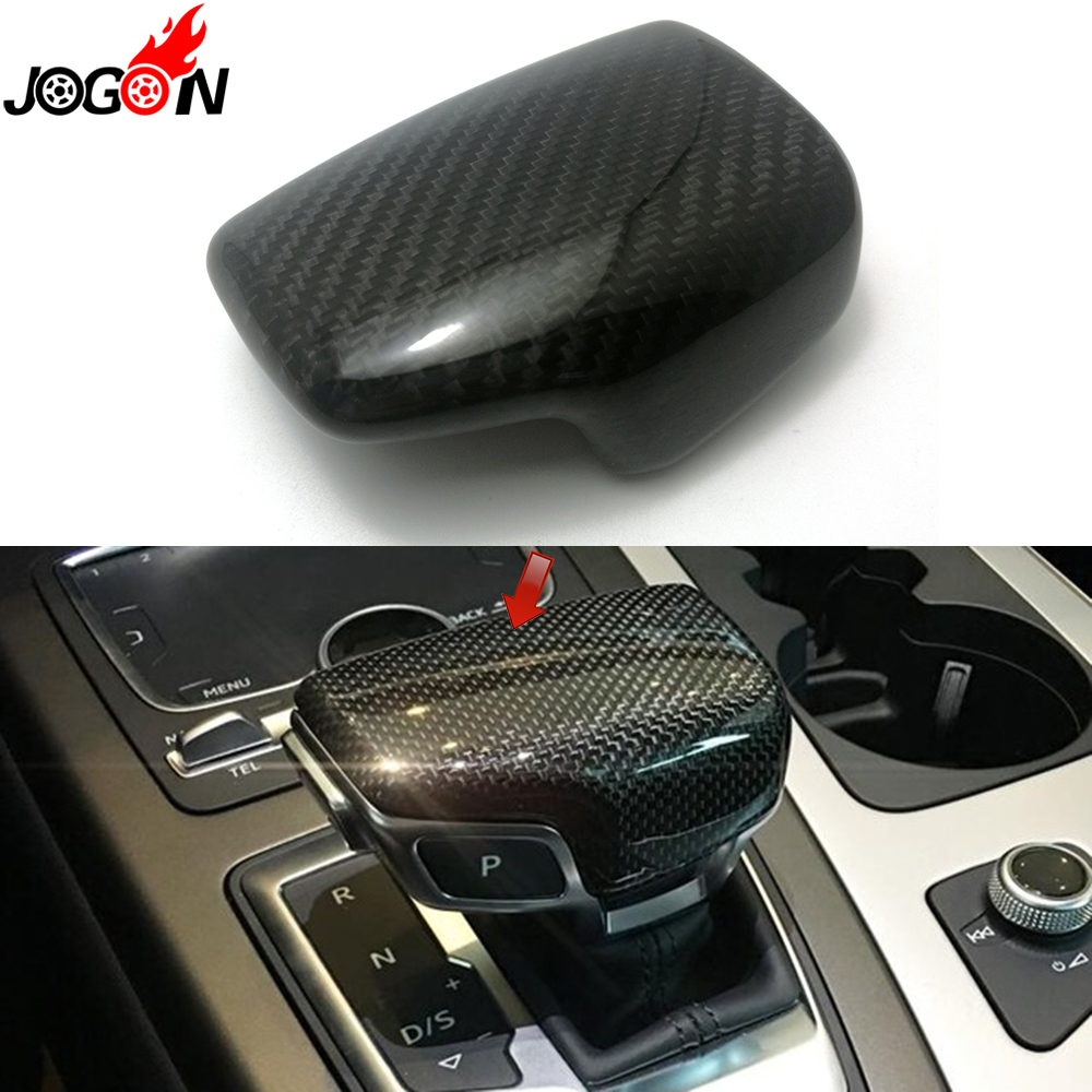 LHD Real Carbon Fiber For AUDI A4 S4 RS4 B9 A5 S5 RS5 Q5 Q7 2016 2017 2018 2019 AT Car Styling Gear Shift Knob Head Cover Trim-in Interior Mouldings from Automobiles & Motorcycles    1