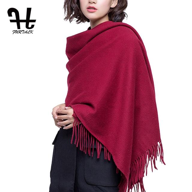 FURTALK 100% Lamb Wool Scarf Women Winter Cashmere Warm Scarves Shawls Tassel Luxury Winter hijab scarf Wraps foulard femme