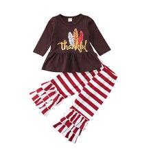 Kids Baby Girl Thanksgiving Long Sleeve Dress Stripe Ruffle Pants Leggings Outfits Clothes Set 2019 kids stripe tape side marled leggings