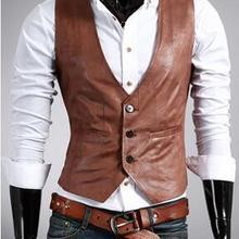 Жилет из искусственной кожи специальная мужской тонкий жилет из искусственной кожи плюс размер простая модная экстравагантная жилетка