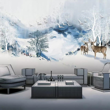 beibehang Wallpaper mural abstract landscape elk woods 3d TV